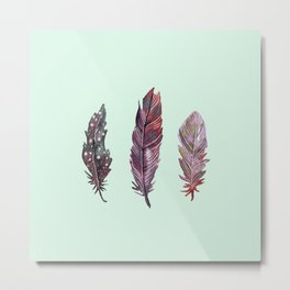 watercolor feathers (mint green) dos Metal Print