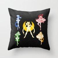 sailor moon Throw Pillows featuring Sailor Scouts / Sailor Moon by Sara Eshak