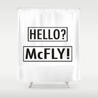 marty mcfly Shower Curtains featuring McFly by Pineapple Lanai