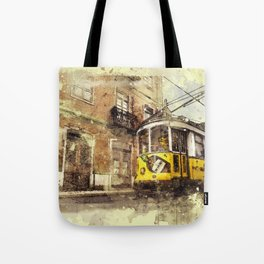 Trolly Train Car subway vintage rustic watercolor painting acrylic france europe italy amsterdam art Tote Bag