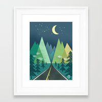 road Framed Art Prints featuring The Long Road at Night by Jenny Tiffany