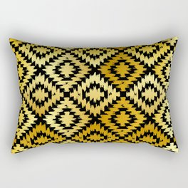 Turkish carpet gold black. Patchwork mosaic oriental kilim rug Rectangular Pillow