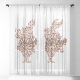 Sparkling rose gold Mr Rabbit Sheer Curtain