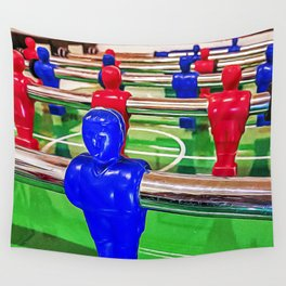 Figures of a foosball table Wall Tapestry