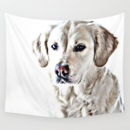 Drawing of a Yellow Lab Wall Tapestry