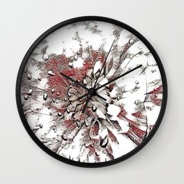 Waterdrop Flower  Grey Coral and White Sketch Wall Clock