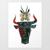 bull and butterfly series #3 Art Print