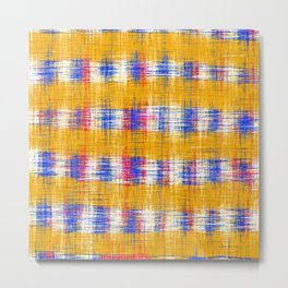 plaid pattern abstract texture in yellow blue pink Metal Print