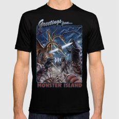 Godzilla Destroy all Monsters Monster Island Kaiju battle Black Mens Fitted Tee X-LARGE