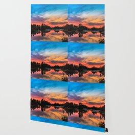 Summer Sunset over Lake Wallpaper