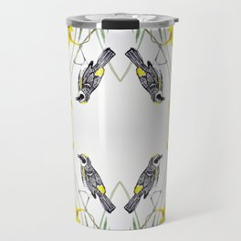 Yellow Rumped Warbler bird watercolor painting Travel Mug