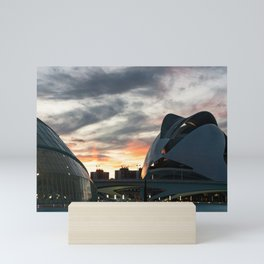 Sunset in the city of arts and sciences of Valencia Mini Art Print