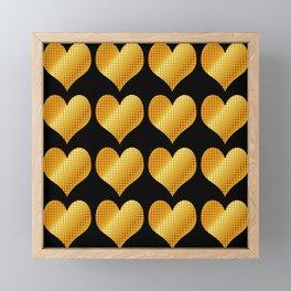 Golden hearts-Black Framed Mini Art Print