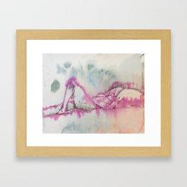 Nude in Pink, ink on paper by Jain McKay. Framed Art Print