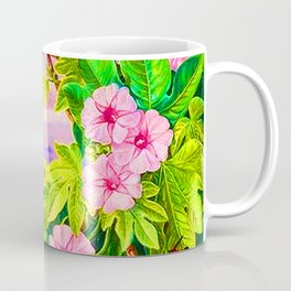 Ipomoea and Vavangue with Mahe Harbour in the distance - Marianne North 1800s Coffee Mug