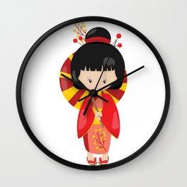 Japanese Kimono Girl Red and Yellow Kimono Wall Clock