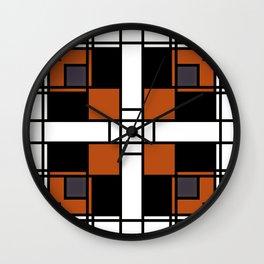Neoplasticism symmetrical pattern in tangelo Wall Clock