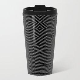Black and White Random Diagonal Lines Grid Travel Mug