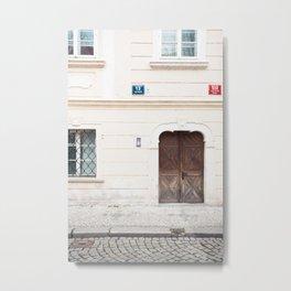 travel photography print -  Prague Czech Republic - wooden door Metal Print