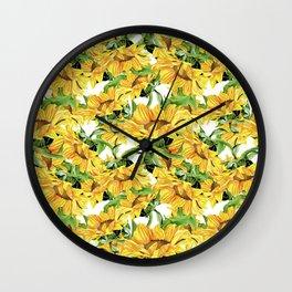 Sunflower field. Watercolor seamless pattern  white. Wall Clock