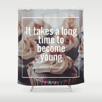 pablo picasso Shower Curtains featuring Become Young Picasso by Chris Martin
