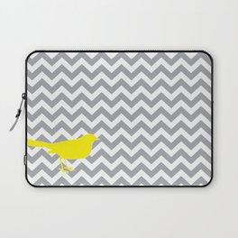 Yellow Bird on Gray Chevron Laptop Sleeve