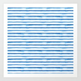 Blue watercolor stripes Art Print