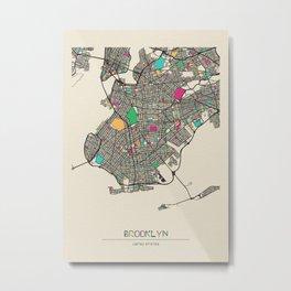 Colorful City Maps: Brooklyn, New York Metal Print