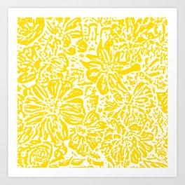 Gen Z Yellow Marigold Lino Cut Art Print