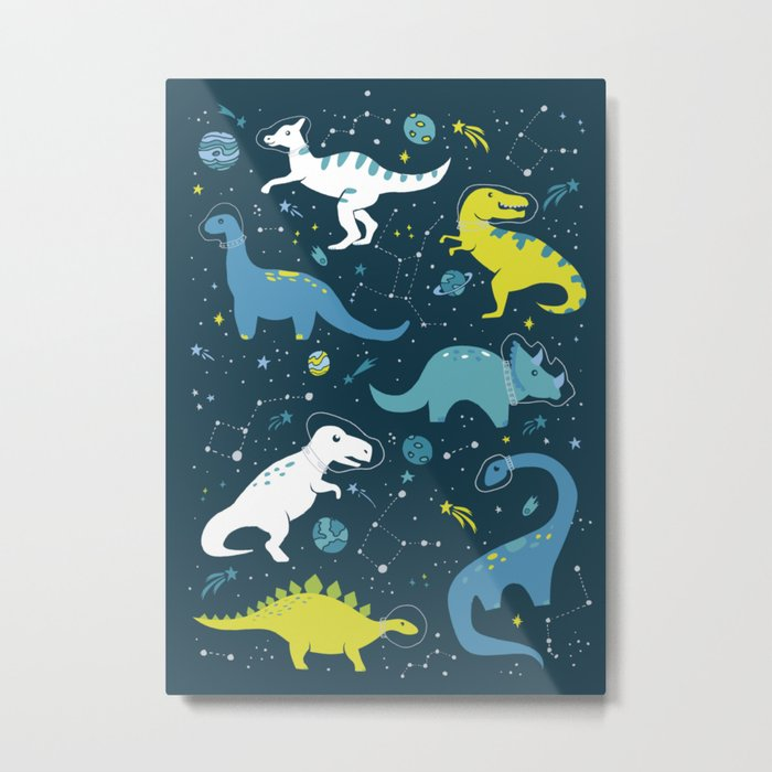 Space Dinosaurs in Bright Green and Blue Metal Print