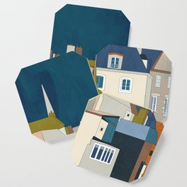 france houses abstract art Coaster