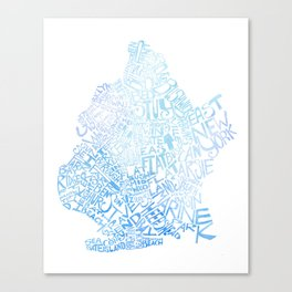Typographic Brooklyn - Blue Watercolor map art Canvas Print