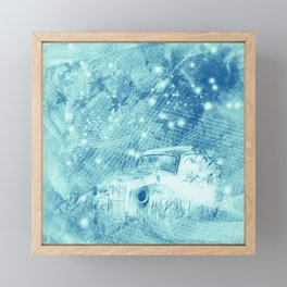 Ghost driver in the moonlight with fireflies and leaves Framed Mini Art Print