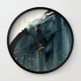 Sapphire an Gold Abstract [2] by Alyssa Hamilton Art Wall Clock