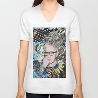 woody allen V-neck T-shirts featuring Woody Allen by John Turck