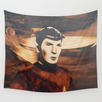 spock Wall Tapestries featuring Leonard Nimoy alias Mr. Spock by Andulino