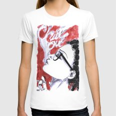 Chill Out. MEDIUM White Womens Fitted Tee