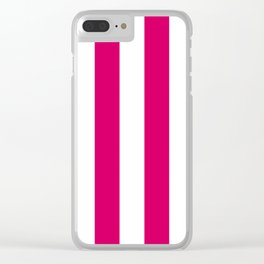 Bright Pink Peacock and White Wide Vertical Cabana Tent Stripe Clear iPhone Case