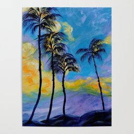 Moon over Palm Trees Poster
