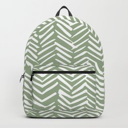 Boho Herringbone Pattern, Sage Green and White Backpack