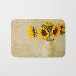 Vintage Sunflowers Bath Mat