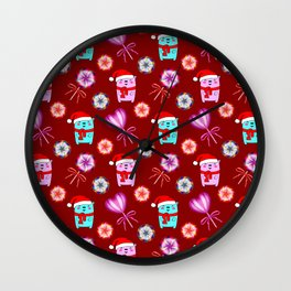 Funny baby bears with red Santa hats, vintage retro lollipops candy. Cute winter Christmas pattern Wall Clock