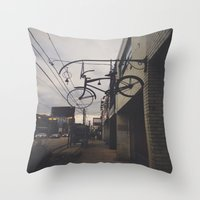 bicycles Throw Pillows featuring Bicycles by Wanderlust Fhotos