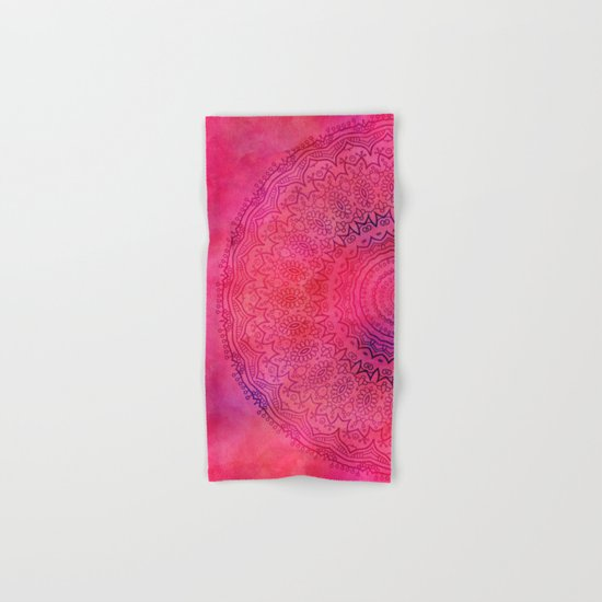 Watercolor Mandala Red Hand & Bath Towel