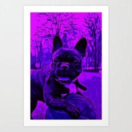 french bulldog basketball vector art purple Art Print
