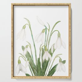 white snowdrop flower watercolor Serving Tray