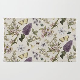 spring flowers with butterfly and beetles II Rug