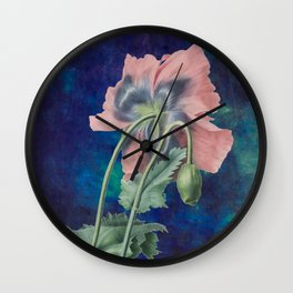 French Poppy - Vintage Botanical Illustration Collage Wall Clock