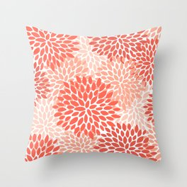 Floral Pattern, Living Coral, Pink Throw Pillow