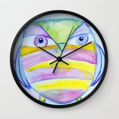 Striped Owl Cute Watercolor Painting by Garden Of Delights Wall Clock